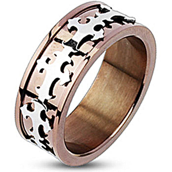 Spikes Mean Stainless Steel Royal Cross Copper IP Band Ring