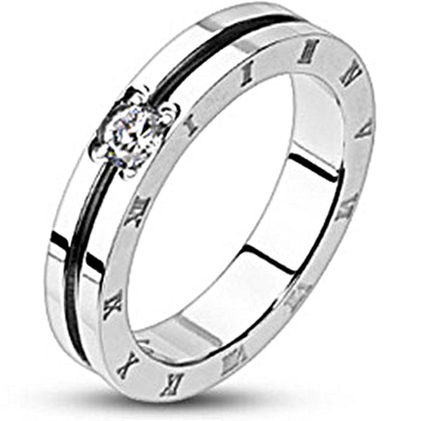 Spikes Stainless Steel Grooved Center Roman Numeral Cubic Zirconia Band Ring