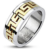 Spikes Maze Pattern Gold IP Center Band Ring