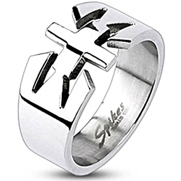 Spikes Womens Stainless Stain Cross Center Band Ring