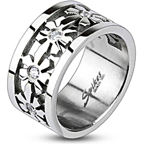 Spikes Womens Stainless Steel Snow Flower Cubic Zirconia Band Ring
