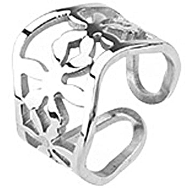 Spikes Womens Stainless Steel Wavy Flower Cast Ring