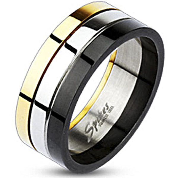 Spikes Stainless Steel Tri-Color Gold IP Black IP Grooved Band Ring