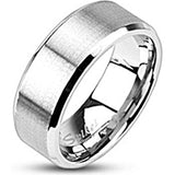 Spikes Brushed Stainless Steel Beveled Edged Band Ring