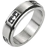 Spikes Mens Stainless Steel Claddagh Heart Spinner Band Ring