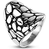 Spikes Stainless Steel Pebble Saddle Plate Cast Ring