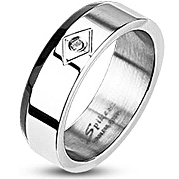 Spikes Stainless Steel Black IP Edged Cubic Zirconia Band Ring