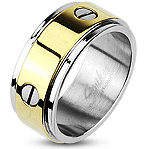 Spikes Stainless Steel 9mm Two-Tone Gold IP Bolt Design Band Ring