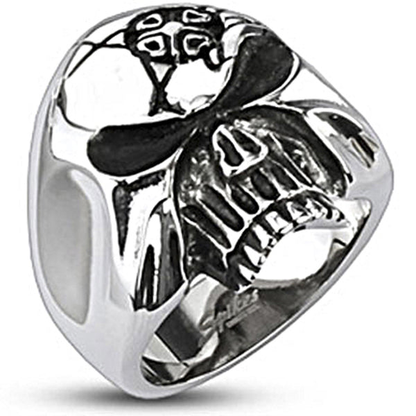 Spikes Mens 24mm Masked Skull Wide Cast Ring