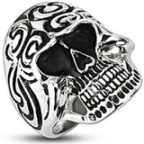 Spikes Mens 28.5mm Tribal Skull Wide Cast Ring