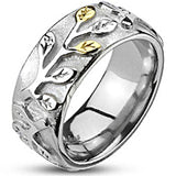 Spikes Stainless Steel Women Gold IP Vine Band Ring