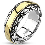 Spikes Mens Stainless Steel 9mm Checkered Cast Gold IP Ring