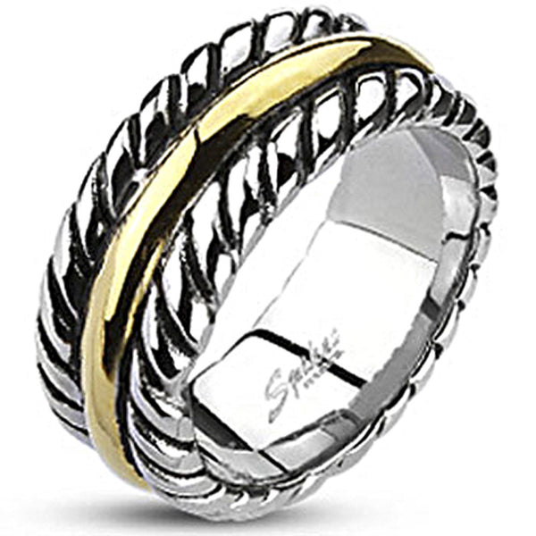 Spikes Mens Stainless Steel 9mm Gold IP Rope Band Ring