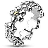 Spikes Womens Stainless Steel 7mm Multi Flower Band  Gold IP Accent Cast Ring