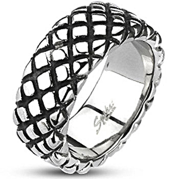 Spikes Mens Stainless Steel 9mm Checkered Pattern Cast Ring