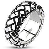Spikes Mens Stainless Steel 9mm Multi-Weaved Cast Ring