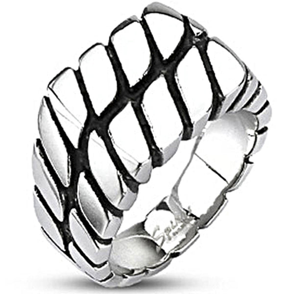Spikes Mens Stainless Steel Flat Top Wide Cast Rope Ring