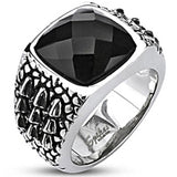 Spikes Mens Stainless Steel Onyx Cubic Zirconia Gator Skin Wide Cast Ring