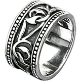 Spikes Mens Stainless Steel Tribal Twisted Vine Wide Cast Ring