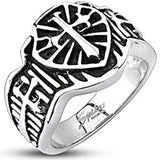 Spikes Mens Stainless Steel 16mm Knights Shield Cross Cast Ring