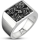 Spikes Stainless Steel 13.5  Hieroglyphic Flower Wide Cast Ring