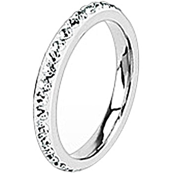 Spikes Womens Stainless Steel 2.5mm Clear Cubic Zirconia Band Ring