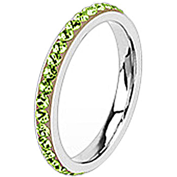 Spikes Womens Stainless Steel 2.5mm Green Cubic Zirconia Band Ring