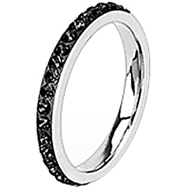 Spikes Womens Stainless Steel 2.5mm Black Cubic Zirconia Band Ring