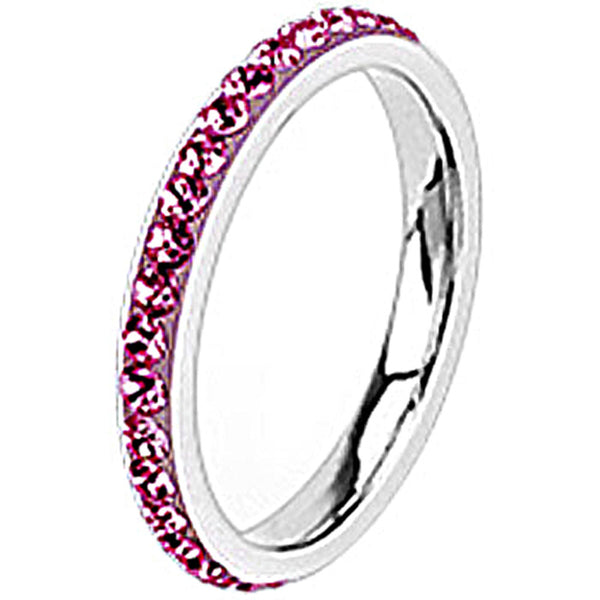 Spikes Womens Stainless Steel 2.5mm Pink Cubic Zirconia Band Ring