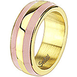 Spikes Womens Stainless Steel Gold IP Pink Enamel Band Ring