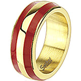 Spikes Womens Stainless Steel Gold IP Red Enamel Band Ring