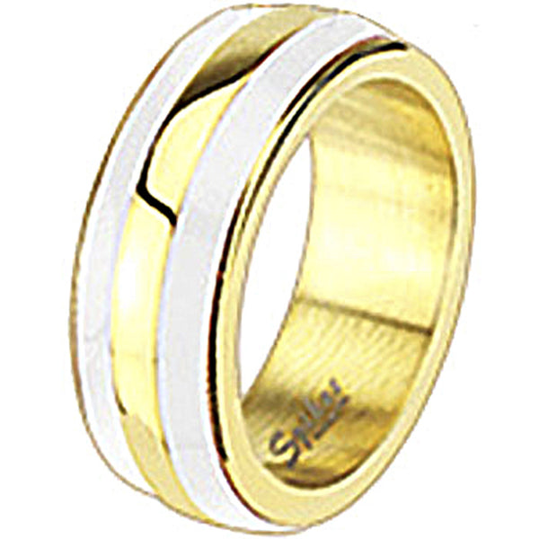 Spikes Womens Stainless Steel Gold IP White Enamel Band Ring
