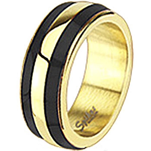Spikes Womens Stainless Steel Gold IP Black Enamel Band Ring