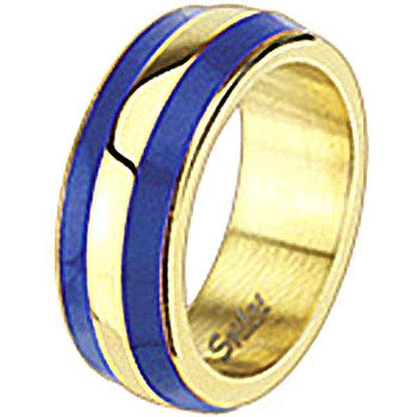 Spikes Womens Stainless Steel Gold IP Blue Enamel Band Ring