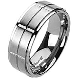 Spikes Solid Titanium Grooved Cross Band Ring