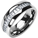 Spikes Womens Solid Titanium Square Cubic Zirconia Band Ring