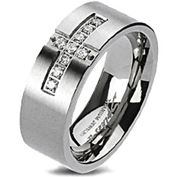 Spikes Solid Titanium Cross Paved Multi Cubic Zirconia Band Ring
