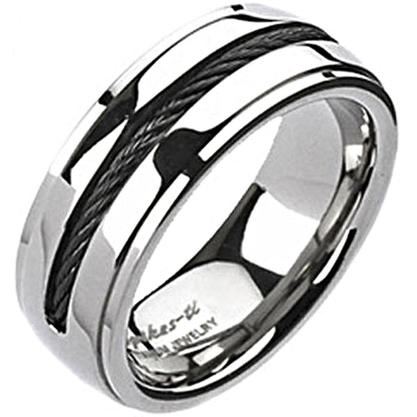 Spikes Solid  Titanium Mens Black IP Chain Inlay Band Ring