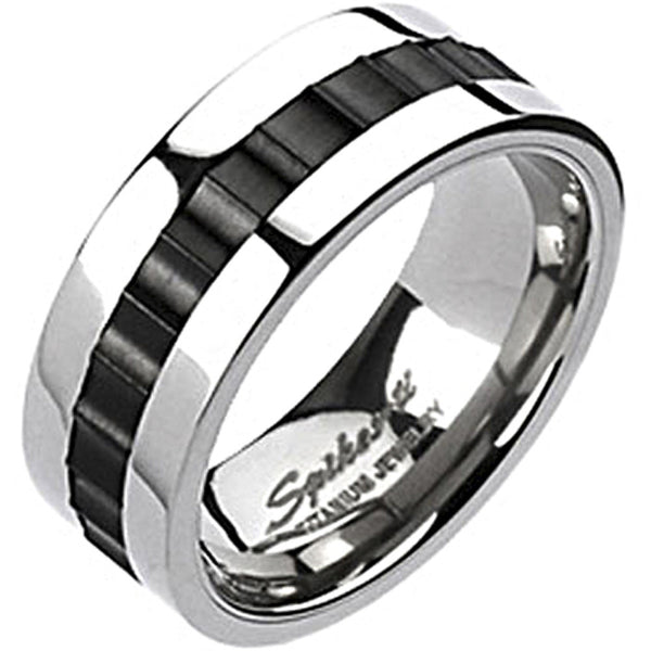 Spikes Solid  Titanium Mens 8mm  Black IP Toothed  Band Ring