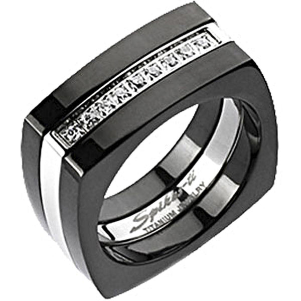 Spikes Solid  Titanium Mens 9mm Two-Tone Black IP Cubic Zirconia Square Ring