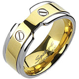 Spikes Solid  Titanium Mens 8mm Two-Tone Gold IP Double Screw Band Ring