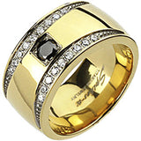 Spikes Solid  Titanium Mens 11mm Gold IP Crescent Cubic Zirconia Band Ring