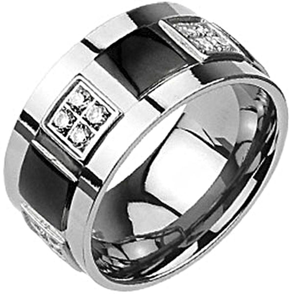 Spikes Solid  Titanium Mens 11mm Two-Tone Black IP Cubic Zirconia Band Ring