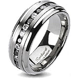 Spikes Solid Titanium Black and Clear Cubic Zirconia Band Ring