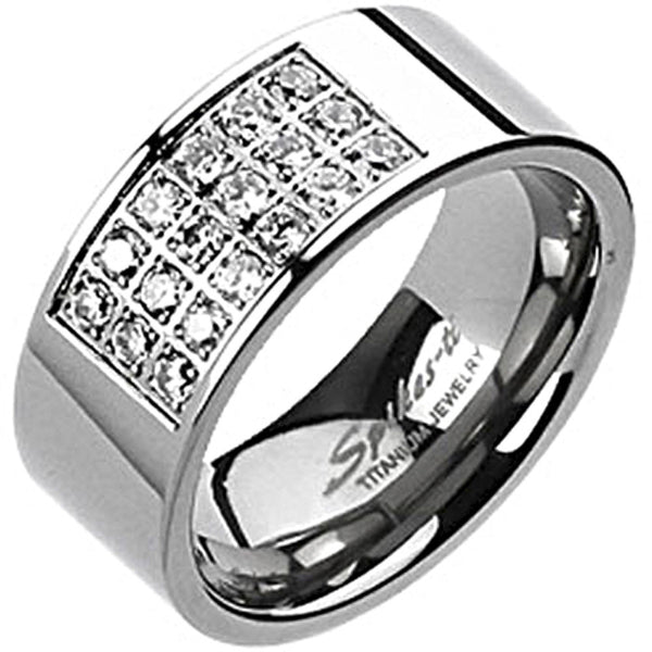 Spikes Mens Solid Titanium 9mm Radiant Cubic Zirconia Band Ring
