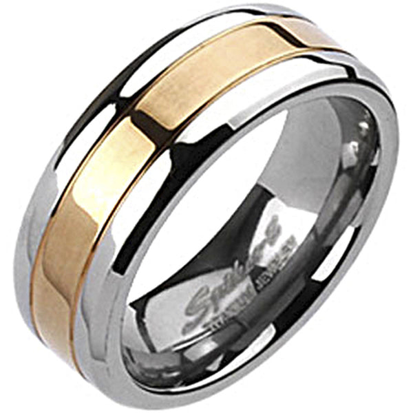 Spikes Mens Solid Titanium 8mm Rose Gold IP Center Band Ring