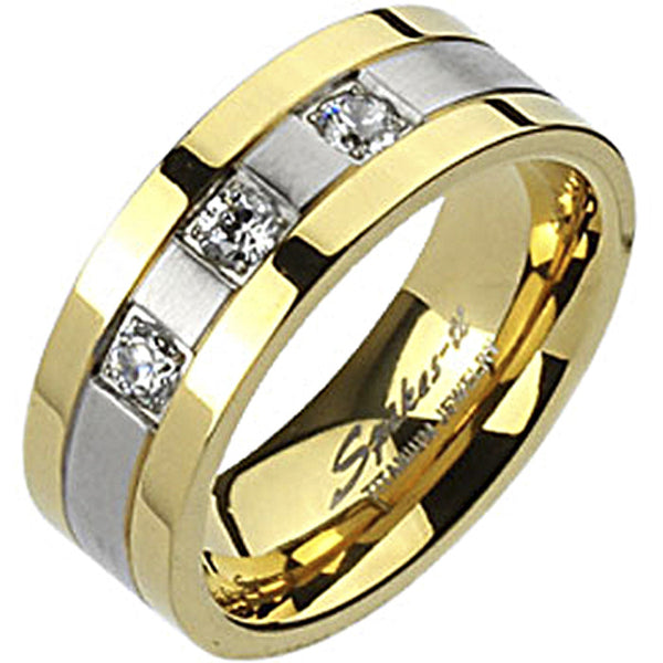 Spikes Mens Solid Titanium 8mm Two-Tone Gold IP Cubic Zirconia Ring