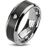 Spikes Solid Titanium Classic Black IP Center Cubic Zirconia  Ring