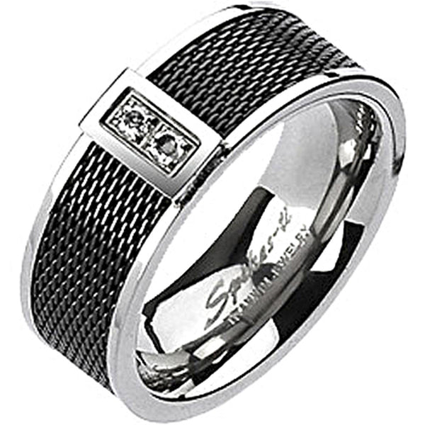 Spikes Solid Titanium Black IP Mesh Center Cubic Zirconia Band Ring