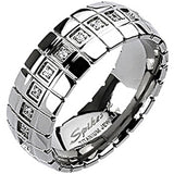 Spikes Solid Titanium 8mm Cross Etched Cubic Zirconia Band Ring